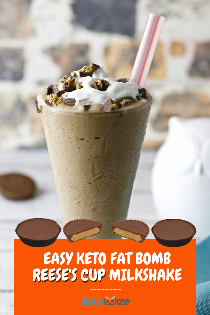 This easy keto fat bomb Reese\'s Cup milkshake recipe will light up your day! Made with coconut milk and thickened with avocado...wow! You\'ll find all of the flavors you\'re looking for like chocolate, peanut butter, and creamy whipped cream. This delicious low carb treat is great for simple breakfast or dessert. Even add a scoop of protein powder for a protein-packed after workout snack. Skip the Halo Top and try this dairy-free recipe instead. #ketomilkshake #ketodessert