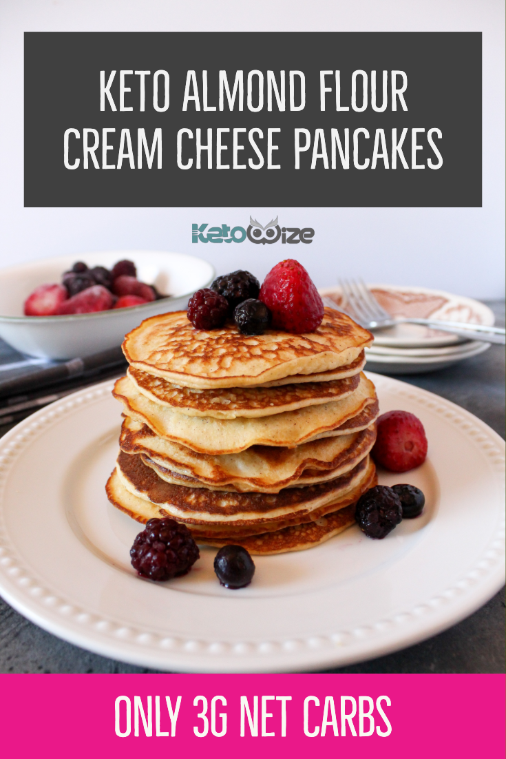 These easy keto almond flour cream cheese pancakes are the best we\'ve ever tried. Both healthy and simple, these pancakes only require a few ingredients. Top them with sugar-free syrup and peanut butter or with blueberries and strawberries. This recipe is so easy, you can make it for one person. And at only 3 net carbs, they are super keto! Kid-friendly and husband friendly too! #ketopancakes #ketorecipes #ketomom #ketobreakfast #ketobreakfastrecipes #ketopancakerecipe