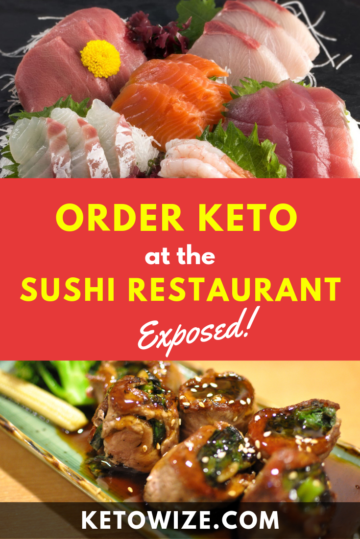A night out at the sushi restaurant can be a difficult prospect for anyone watching carbs. Sushi on Keto? Not easy. But definitely possible...and delicious! In this detailed guide, we ditch the rice and the rolls, and opt for things like cauliflower rice, sashimi, tuna, and shrimp. You\'ll learn how to order and how to make sushi on on a keto or low carb diet. #ketosushi #ketorecipes #lowcarbsushi #keto #ketodiet #ketogenicdiet #japanesefood