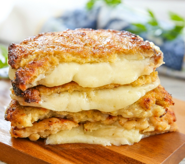 Keto Vegetarian Recipe - Cauliflower Crusted Grilled Cheese Sandwiches