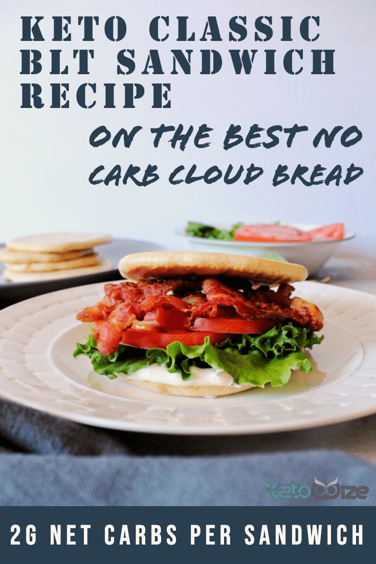 Keto Classic BLT Sandwich On The Best No Carb Cloud Bread. Only 2 grams of net carbs per sandwich.
