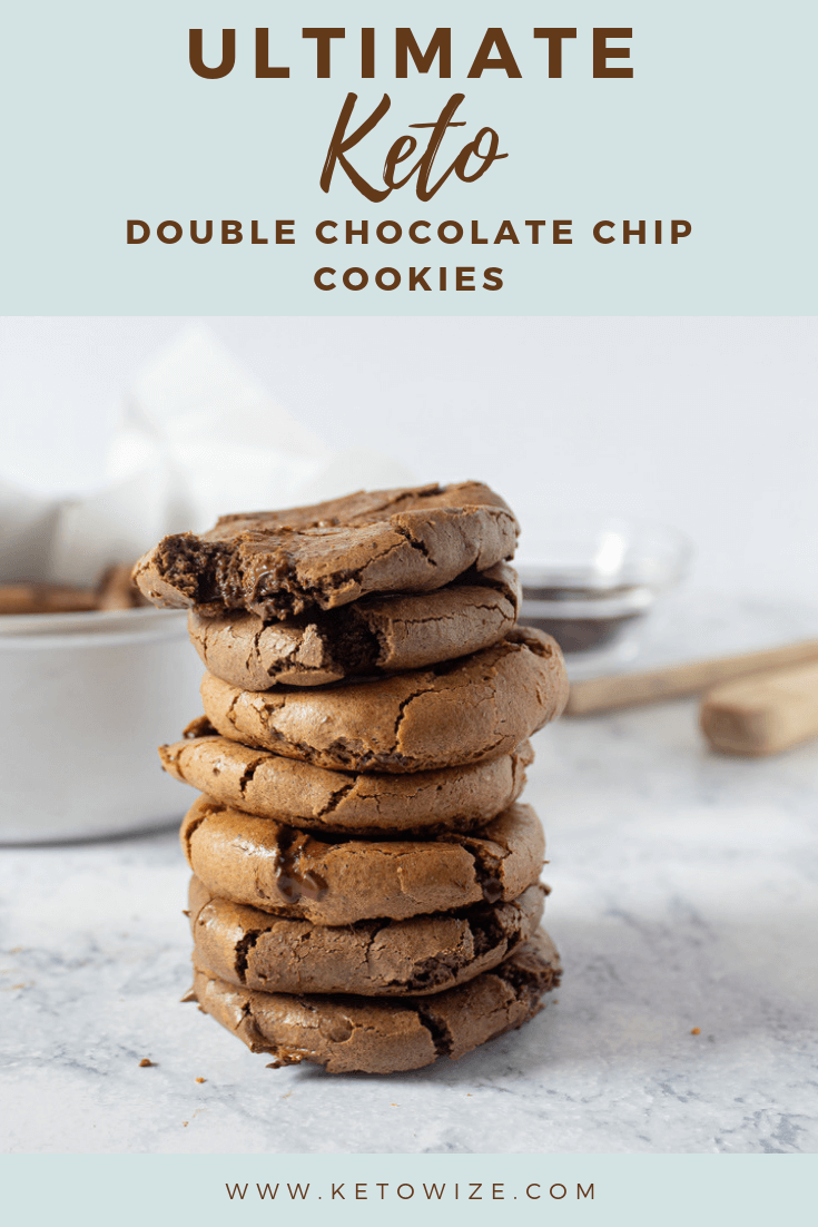 Ultimate keto double chocolate chip cookies stacked up.