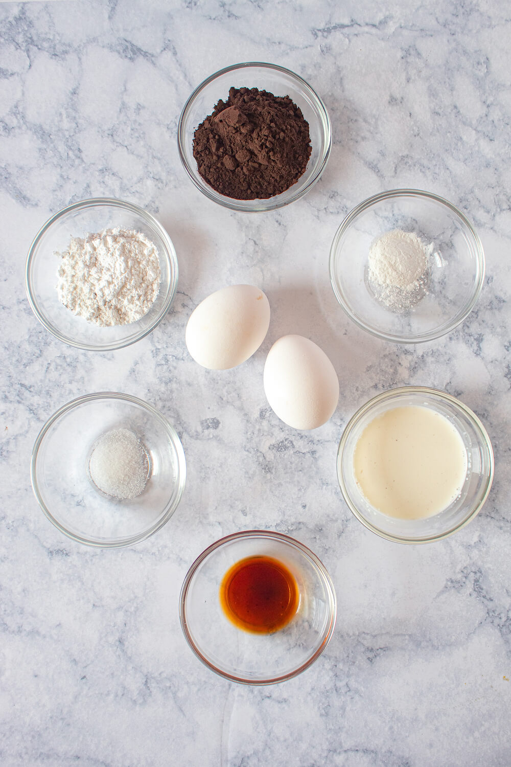Ingredients for our delicious keto lava cake recipe prepped and laid out on the counter.