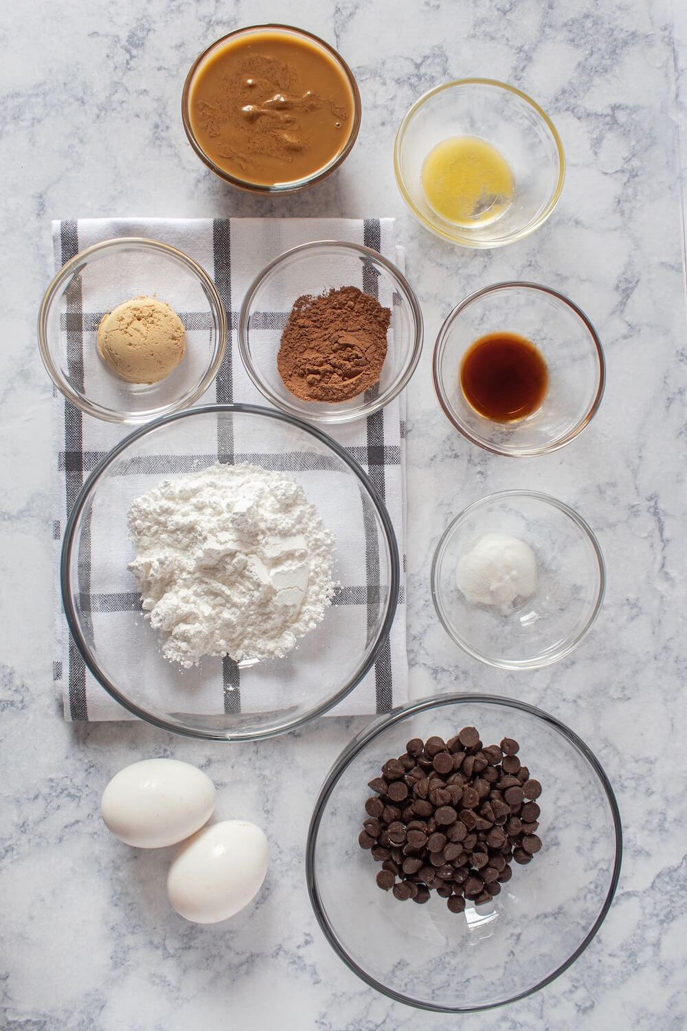 All ingredients for these keto double chocolate chip cookies laid out on the counter