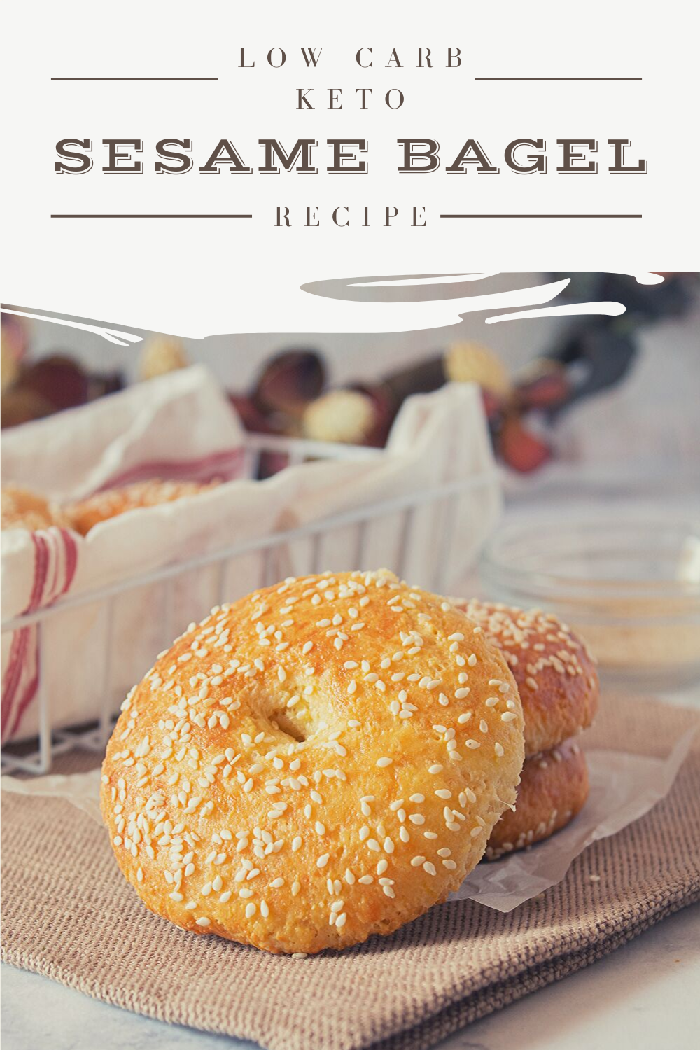 Our low carb Keto Sesame bagel recipe is super easy to make and takes only 5 ingredients.  This fathead style dough skips the coconut flour and uses almond flour instead.  We also skip the yeast and use baking powder instead.  The result is a delicious, chewy and dense Keto bagel that rivals anything you would get in New York City. #ketobagel #ketorecipe #ketobreakfast #ketobaking #ketodiet