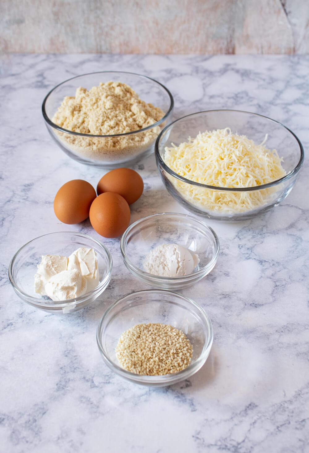 Low Carb Keto Sesame Bagel Ingredients