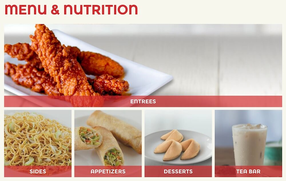 Panda Express Chinese restaurant has their nutrition information listed on their website.