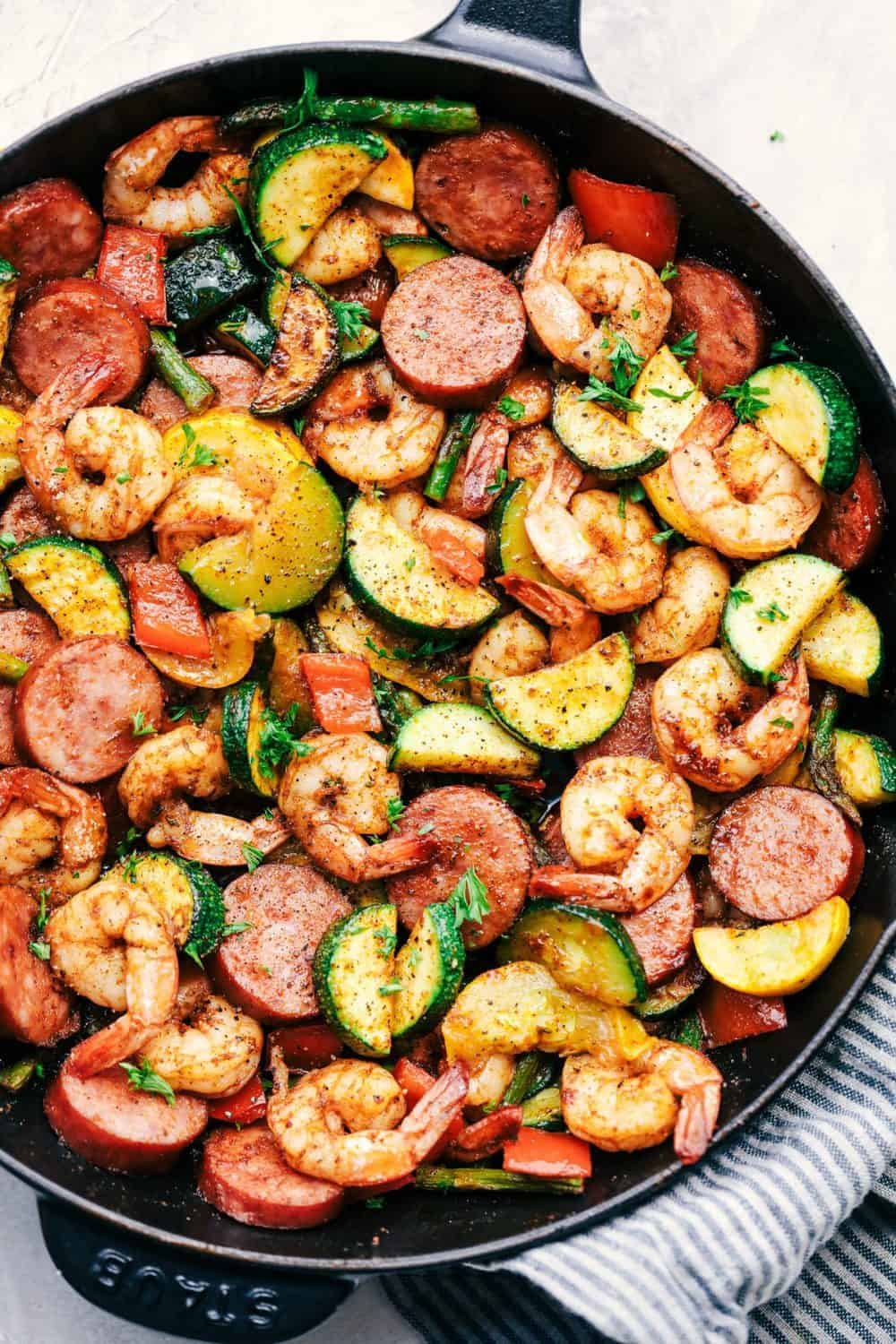 Cajun Shrimp and Sausage Vegetable Skillet Delicious Low Carb Recipe