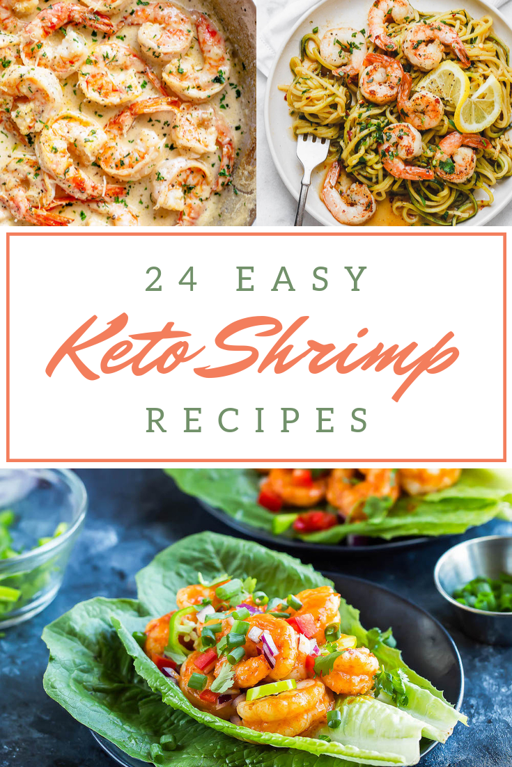 Have you been on the lookout for some delicious Keto shrimp recipes to change things up? I\'ve pulled together 24 of my favorite low carb shrimp dinners you can make in 30 minutes or less. These easy main dishes include all your favorites including scampi, Bang Bang shrimp, avocado salads, soup, and a whole lot more. From spicy Mexican to simple stir fry, we\'ve got you covered. Pull out the air fryer or crock pot for something truly unique. #ketoshrimp #ketorecipes #ketorecipeseasy