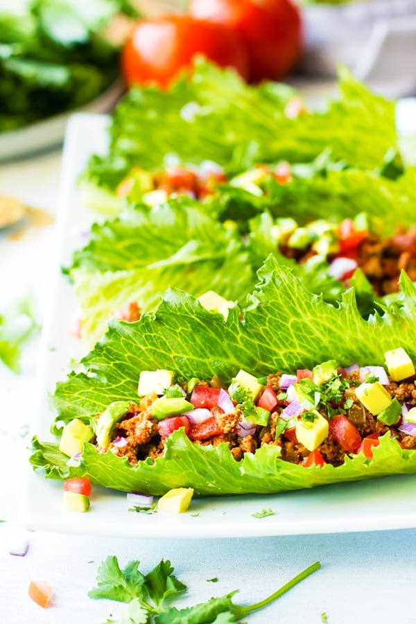Ground Turkey Taco Lettuce Wraps for an easy weeknight dinner